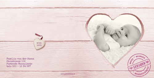 own picture behind heart in wood pink, v Achterkant/Voorkant